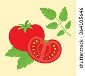red tomato and half tomato... | Shutterstock .eps vector #364105646
