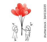 boy give heart balloon... | Shutterstock .eps vector #364116335