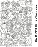 pattern for coloring book. owls.... | Shutterstock .eps vector #364117202