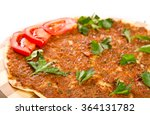 turkish pizza on a wooden board | Shutterstock . vector #364131782