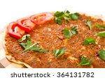 turkish pizza on a wooden board | Shutterstock . vector #364131782