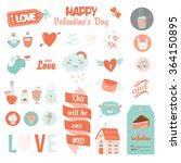 vintage love set of valentines...   Shutterstock .eps vector #364150895