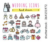 hand drawn wedding icons ... | Shutterstock .eps vector #364151972