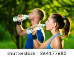 man and woman drinking water... | Shutterstock . vector #364177682