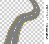 curved road with white markings.... | Shutterstock .eps vector #364182566