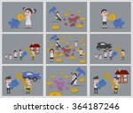 9 dolls savers backgrounds | Shutterstock .eps vector #364187246