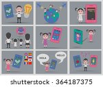 set 9 people technology... | Shutterstock .eps vector #364187375
