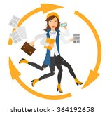 woman coping with multitasking. | Shutterstock .eps vector #364192658