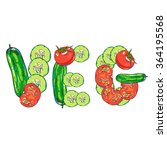 vector vegetables set with... | Shutterstock .eps vector #364195568