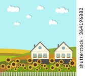 neighboring country houses with ...   Shutterstock .eps vector #364196882