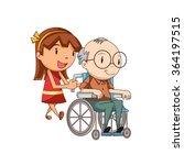 girl caring old man  vector... | Shutterstock .eps vector #364197515