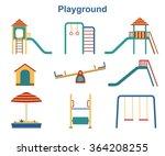 kids playground elements vector | Shutterstock .eps vector #364208255