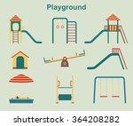 kids playground elements vector | Shutterstock .eps vector #364208282