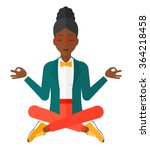 business woman meditating in... | Shutterstock .eps vector #364218458