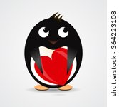 romantic penguin with a red...   Shutterstock .eps vector #364223108