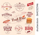 set of vintage fast food style... | Shutterstock .eps vector #364232546