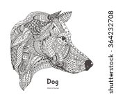 hand drawn dog side view with... | Shutterstock .eps vector #364232708