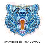 patterned head of the growling... | Shutterstock .eps vector #364239992
