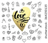 i love you doodle icon set... | Shutterstock .eps vector #364250135