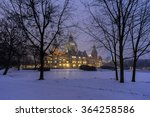 Stock photo hannover germany january rathaus hannover in winter at evening 364258586