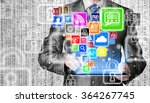business man using tablet pc... | Shutterstock . vector #364267745