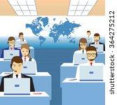 men and women working in a call ... | Shutterstock .eps vector #364275212