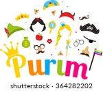 jewish holiday purim set of... | Shutterstock .eps vector #364282202