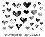 hand drawn ink doodle hearts on ... | Shutterstock .eps vector #364283216