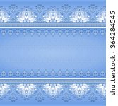 floral seamless border on blue. ... | Shutterstock .eps vector #364284545