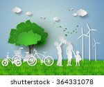 concept of eco with family... | Shutterstock .eps vector #364331078
