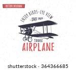 Airplane Emblem. Biplane Label...