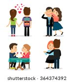 first date and romantic dinner | Shutterstock . vector #364374392