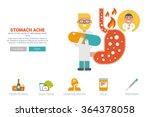 stomache ache health concept... | Shutterstock .eps vector #364378058
