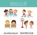 kids activity in the... | Shutterstock .eps vector #364382168