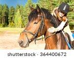 girl equestrian riding... | Shutterstock . vector #364400672