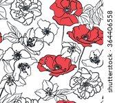 monochrome hand drawn floral... | Shutterstock .eps vector #364406558