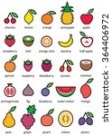 fruits   icon set | Shutterstock .eps vector #364406972