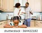 sad girl against parents... | Shutterstock . vector #364422182