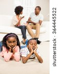 unhappy kids sitting on the... | Shutterstock . vector #364445522