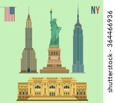 set of new york famous... | Shutterstock .eps vector #364466936