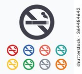 no smoking sign icon. cigarette ... | Shutterstock .eps vector #364484642