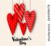garland of four red hearts... | Shutterstock .eps vector #364498478