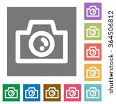 camera flat icon set on color...