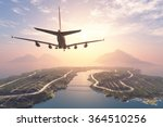Modern Aircraft Flies Over The...
