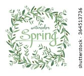 watercolor olive wreath with... | Shutterstock . vector #364513736
