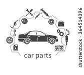 car parts  set icons auto spare ... | Shutterstock .eps vector #364514396