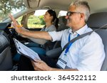 smiling young girl with driving ... | Shutterstock . vector #364522112
