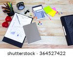 wood desk with office supplies... | Shutterstock . vector #364527422