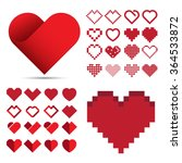 red heart icon set .... | Shutterstock .eps vector #364533872