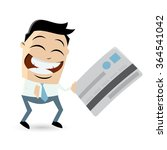 funny cartoon man with credit... | Shutterstock .eps vector #364541042